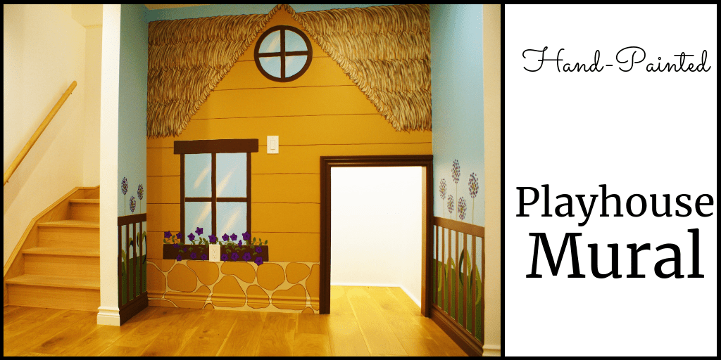 A playhouse mural painted by Adrienne of AboutMurals.ca