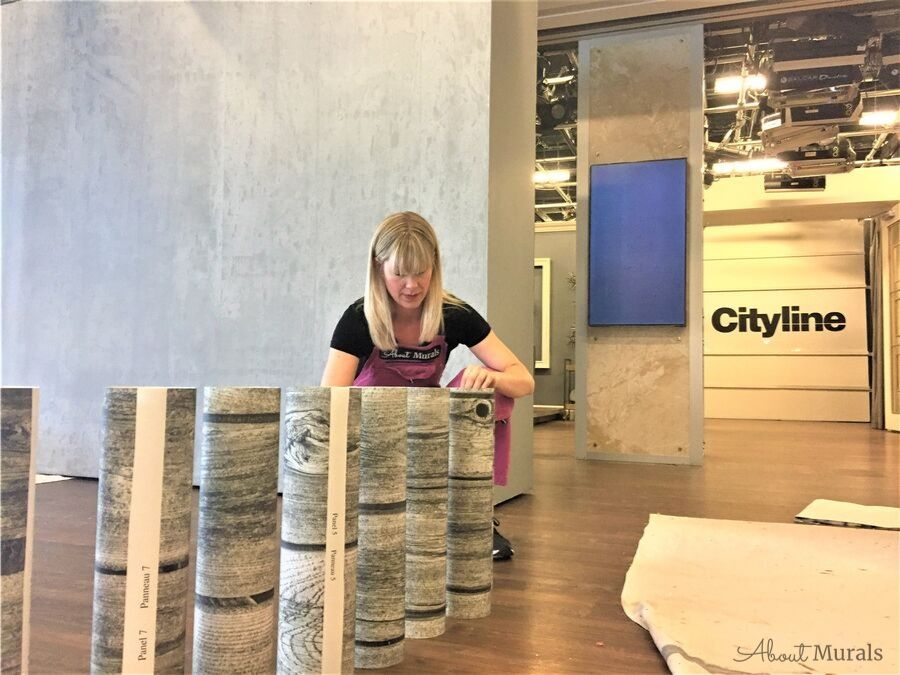 DIY easy to hang wood look wallpaper on set at Cityline