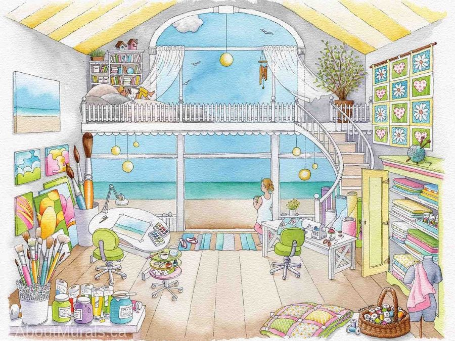 Mia's Workshop Wallpaper features an arts and crafts studio where children can paint, sew, knit, read and draw while overlooking a turquoise beach. Kids wall murals sold by AboutMurals.ca.