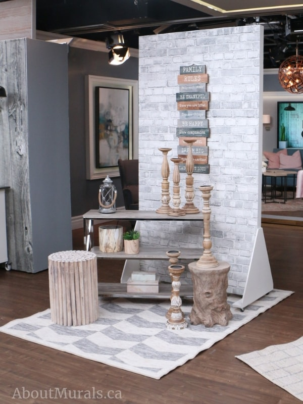 A removable brick wallpaper used on set at Cityline, by AboutMurals.ca