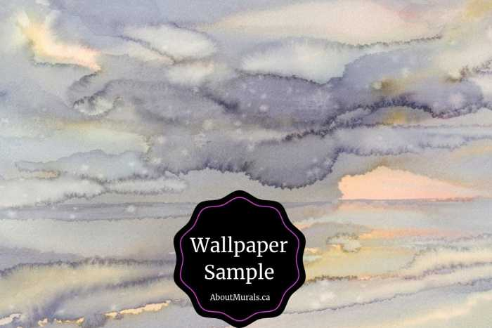 Watercolor Wallpaper Sample features abstract purple and gold art. Removable wallpaper from AboutMurals.ca.