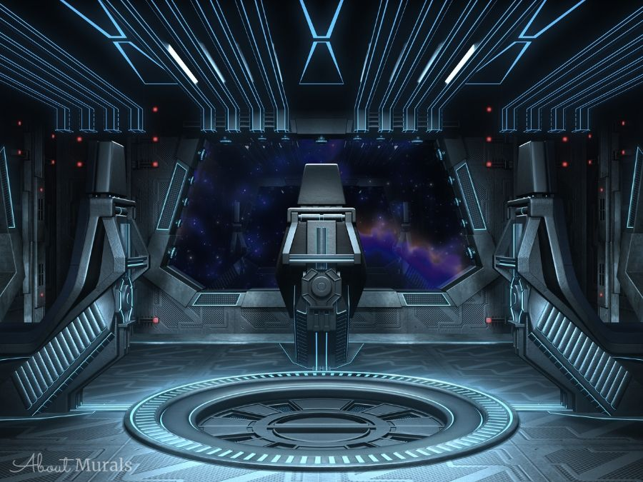 Spaceship Wall Mural features the ominous black cockpit of a spaceship looking out into a star studded galaxy. Space wallpaper sold by AboutMurals.ca.