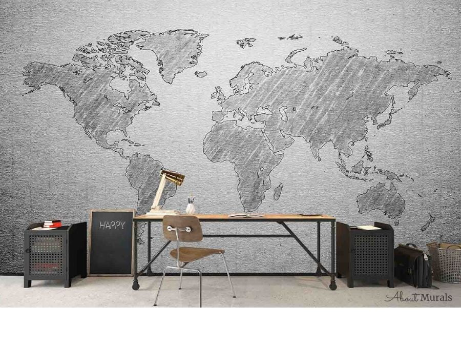 Textured Gray World Map Wallpaper, as seen on the wall of this office, creates a simple, neutral design. Easy wallpaper sold by AboutMurals.ca.