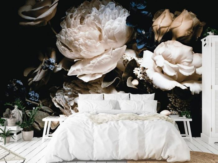 Black Floral Wallpaper, as seen on this bedroom wall, features beautiful rose and peony flowers on a dark background. Flower wallpaper sold by AboutMurals.ca.