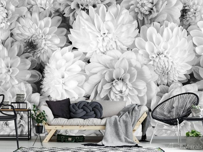 Black and White Flower Wallpaper, as seen on the wall of this living room, features beautiful grey dahlia flowers. Floral wallpaper from AboutMurals.ca.