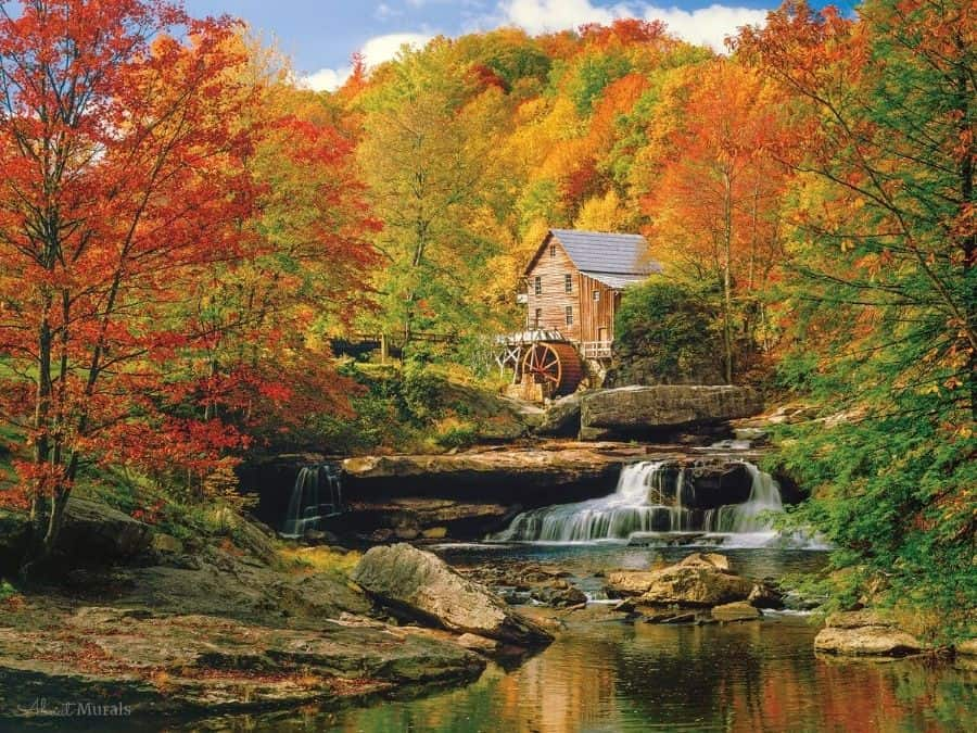 Watermill Wallpaper is a photo wall mural that features the historic Glade Creek Grist Mill set against fall trees. Autumn forest wallpaper sold by AboutMurals.ca.