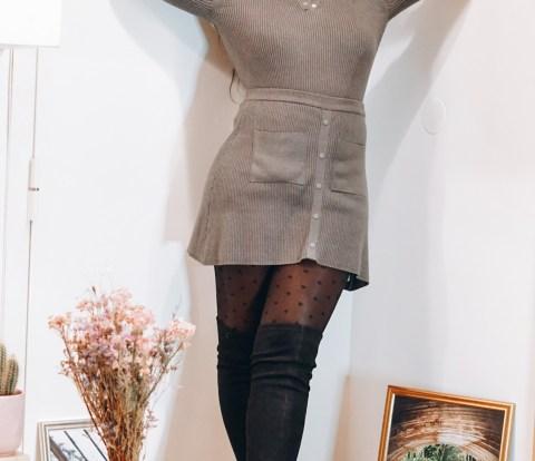 grey knitwear set from Zara