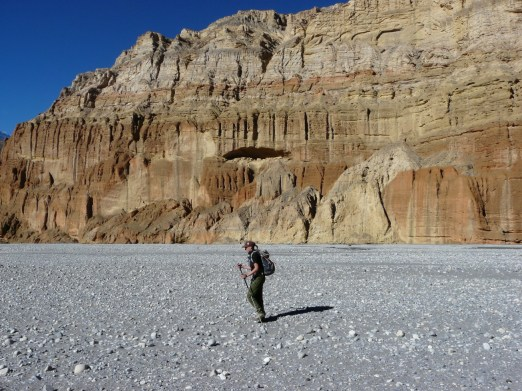 A trekker walking at Mustang