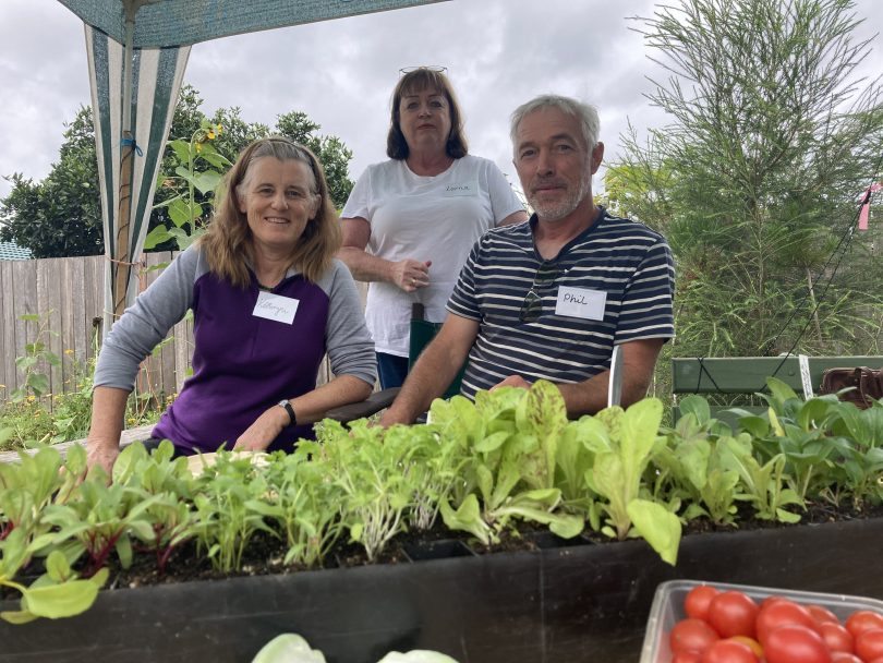 Kathryn Maxwell, Lorna Calder and Phil Timms at the SAGE gardening workshop.