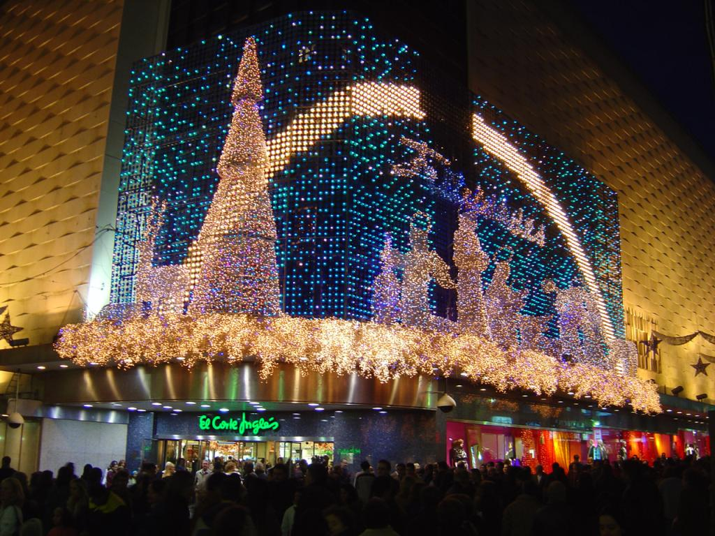 Christmas light show at El Corte Ingls in Madrid  About