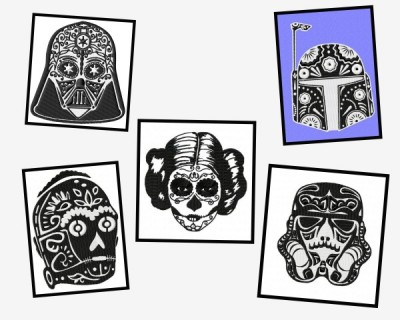 Star Wars Sugar Skull Embroidery Designs Bundle