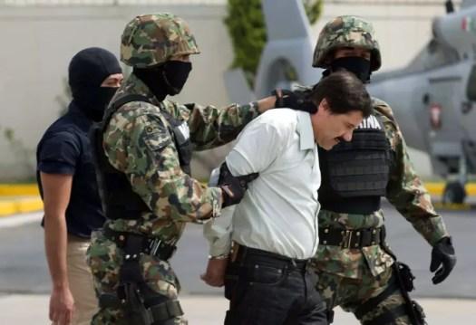 "Joaquin ""El Chapo"" Guzman Loera after his arrest in 2014."