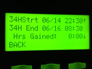 A picture of how the PeopleNet e-log unit keeps track of the 34-hour break.