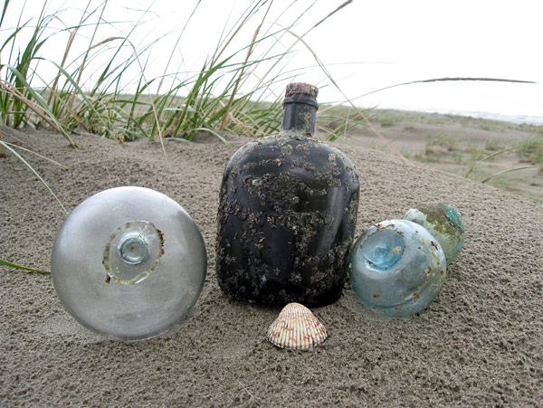 Glass floats and bottle from Japan