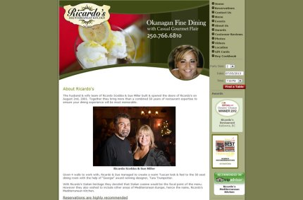 Ricardos.ca :: Restaurant Website