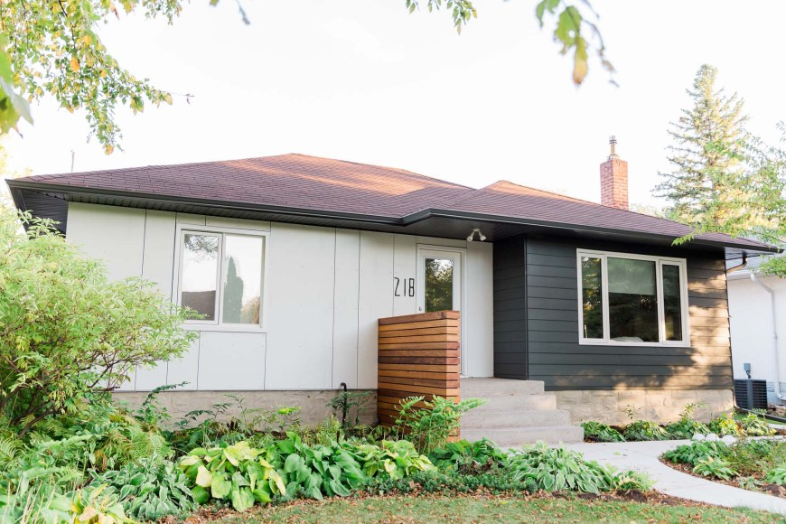 Updated exterior of Winnipeg bungalow