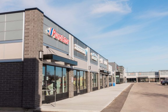 Winnipeg commercial strip mall with new exteriors in Winnipeg