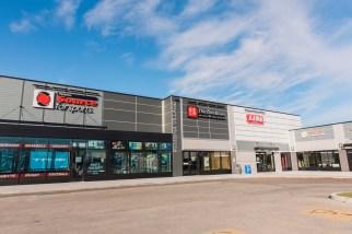 Winnipeg commercial Hardie siding on strip mall