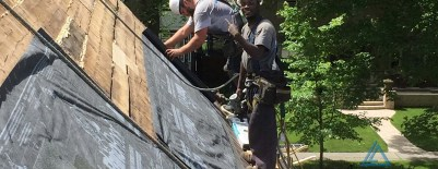 Insulating roof from ladder