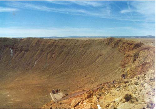 a large meteor crater in the Arizona desert
