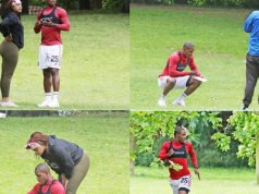 Manchester United striker Odion Ighalo trains in the company of mystery woman