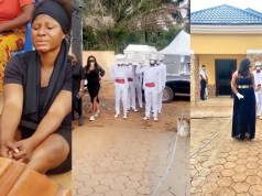 Actress, Destiny Etiko Buries Her Father Amist Of Tears In Enugu State