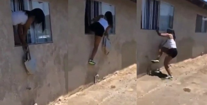 Side Chick Escapes Through Window After Lover's Wife Came Knocking (Video)