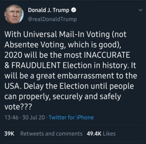 President Trump Begs For US 2020 Election To Be Postponed