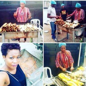Photos Of BBNaija 2020 Housemate, Lucy Selling Roasted Plantain And Fish
