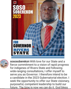 Popularly Known Music Executive, Soso Soberekon Declares Intention To Run For Rivers Governor In 2023