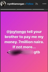 """Jude Okoye Should Pay Me The N7m He Owes Me"" - Cynthia Morgan Drags Former Boss Again"