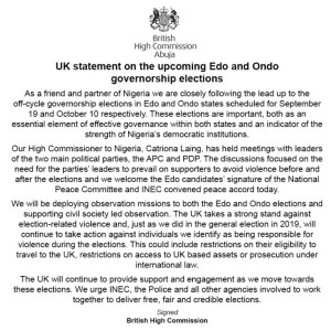 Edo/Ondo: UK Threatens Election Offenders With Visa Ban And Asset Seizure