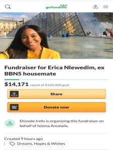 BBNaija2020: Fans Raise $19,000 For Erica After Her Disgraceful Eviction Yesterday