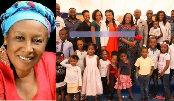 Nollywood Actress, Patience Ozokwor In A Photograph With Her 14 Grandchildren And 10 Children (Photos)