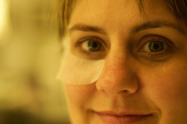 Tori Wearing Eye Mask