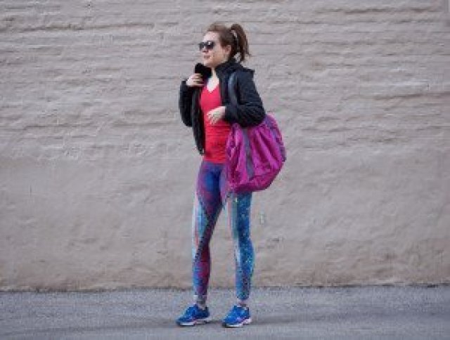 Onzie Leggings, Lululemon bag, leather jacket, asics, sneakers, athletic wear