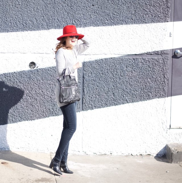 Red Hat and Studded Boots