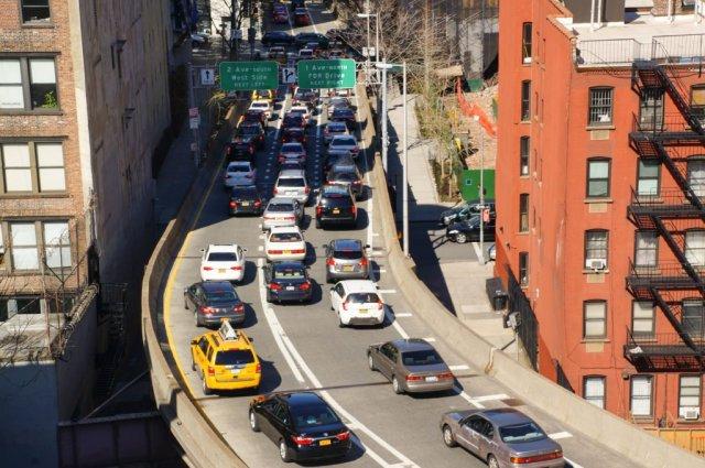 Cars exiting Queensboro Bridge