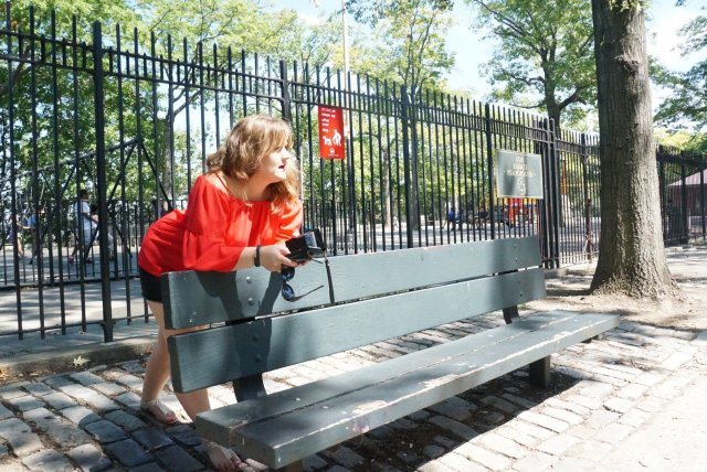 Leaning on bench
