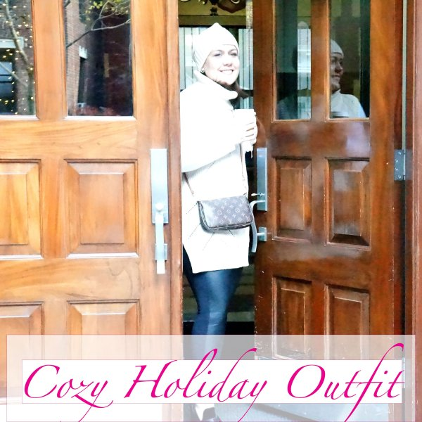Cozy Holiday Look – Turtleneck Sweater Vest and Faux Leather Leggings