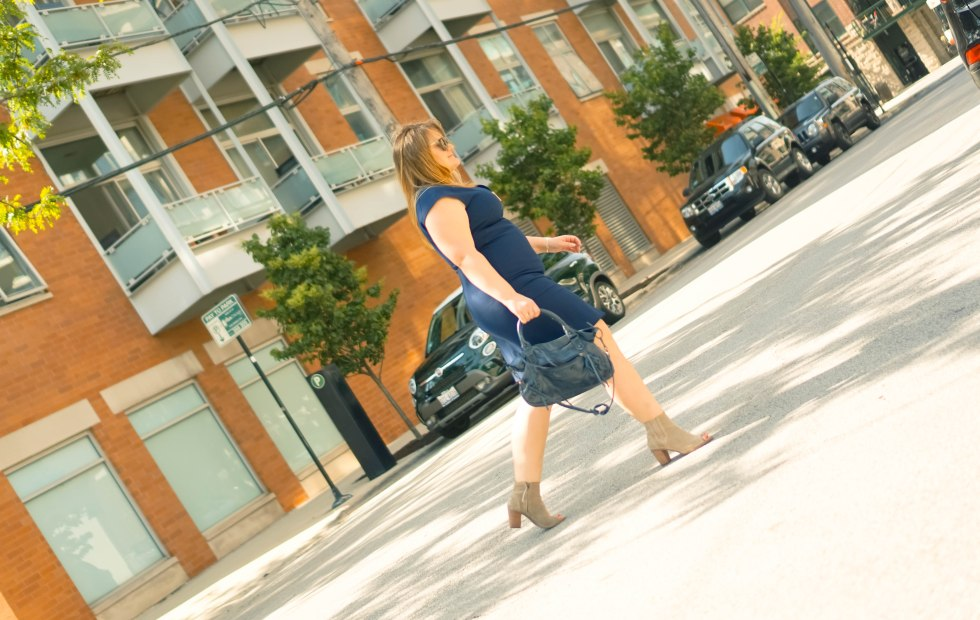 Ted Baker dress-crossing street