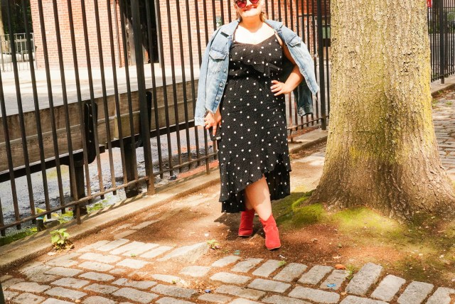 Polka Dot Dress - Red Boots And Jean Jacket