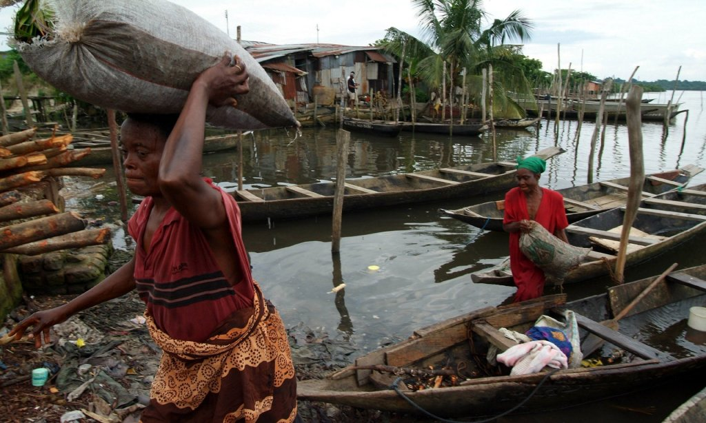 Women return from fishing in Buguma, in the Niger delta. Photograph: George Osodi/AP