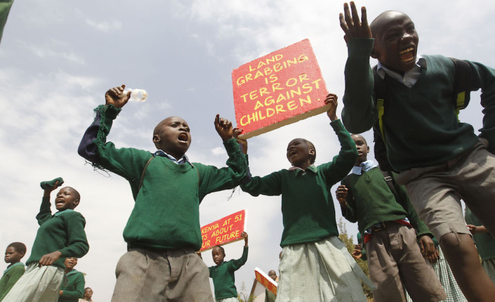 Kenyan schoolchildren at the #OccupyPlayground protest. Courtesy of Boniface Mwangi