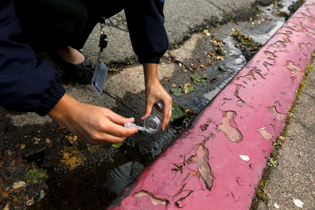 8 April 2015: Jolene Bertetto, a water conservation technician with East Bay Municipal Utility District, takes a water sample from run-off in a neighborhood in Oakland, California. Bertetto was conducting investigations into waste water and sources of water leaks as the state's top water regulators released a framework for enforcing California's first statewide mandatory restrictions on urban water useRobert Galbraith/ Reuters