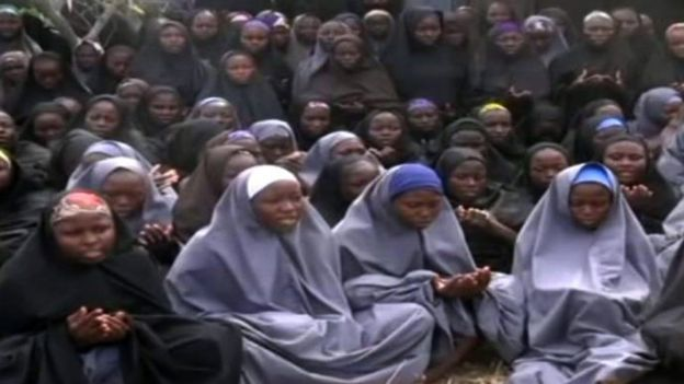 Boko Haram released a video of some of the girls shortly after their kidnap. Photo: AFP