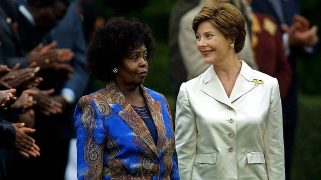 Former US First Lady Laura Bush hosted Mrs Kibaki at the White House in 2003. Photo: AFP