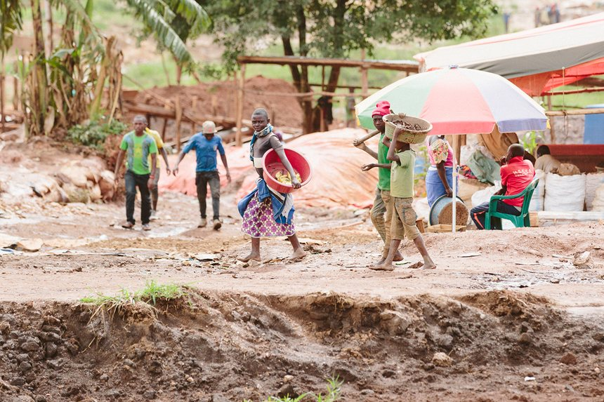 Children at work on a gold mine in Uganda. Photograph: Eelco Roos/Hivos
