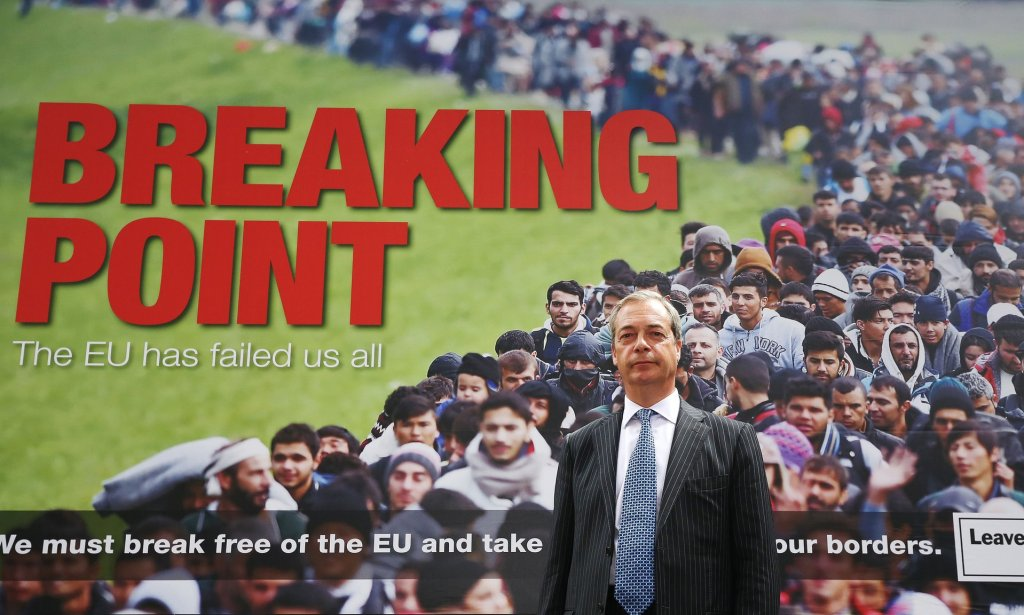 igel Farage with the 'Breaking point' poster. Photograph: Philip Toscano/PA