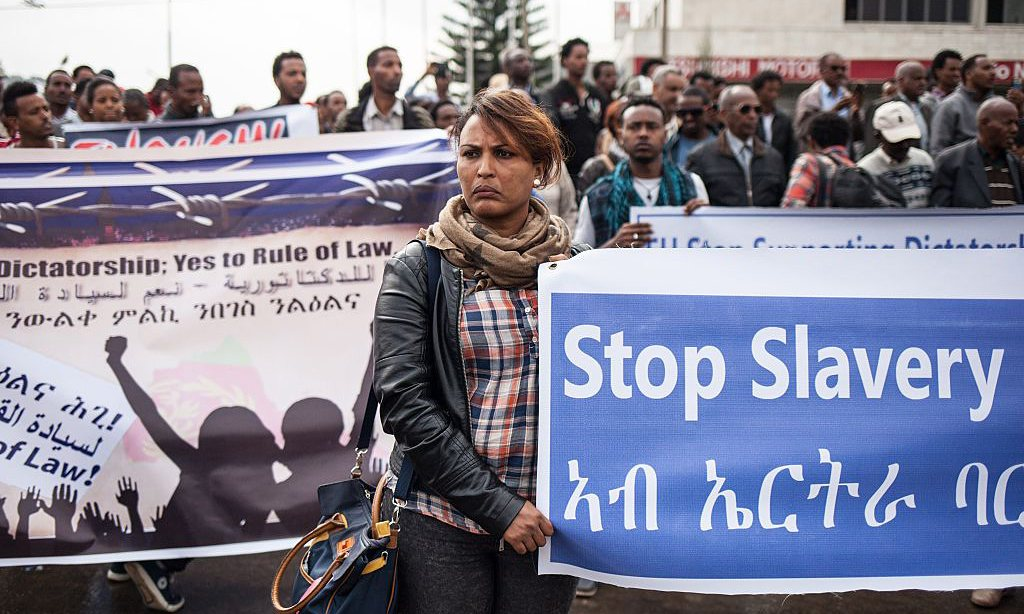 Hundreds of Eritreans demonstrate in front of the African Union headquarters in Addis Ababa, Ethiopia, asking for measures to be taken against Eritrea in June 2015. Photograph: Nichole Sobecki/AFP/Getty Images